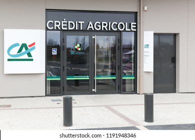 Orleans, France - March 19, 2017: Credit Agricole agency. Credit Agricole is a French network of cooperative and mutual banks comprising the 39 Credit Agricole Regional Banks
