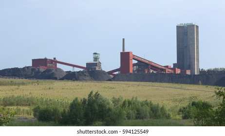 ORLOVA LAZY, CZECH REPUBLIC, OCTOBER 1, 2016: Black coal mine, reclaimed surface coal mining, town Orlova Lazy, Northern Moravia, in the Czech Republic, Europe, EU