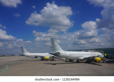 ORLY, FRANCE -3 JUL 2018- An airplane from Spanish low-cost airline Vueling (VY) at the Orly airport (ORY) near Paris.