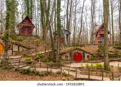 Ormanya Izmit City Park, colorful wooden houses for tourism inspired by the movie The Hobbit, March 6,2021 Kocaeli, Turkey