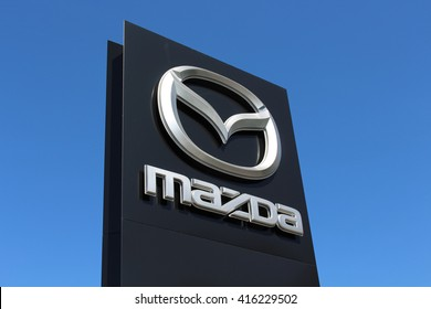 ORMESSON SUR MARNE, FRANCE - MAY 5, 2016: Mazda sign. Mazda Motor Corporation is a Japanese automotive manufacturer