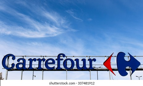 ORMESSON SUR MARNE, FRANCE - NOVEMBER 8, 2015: Logo of Carrefour brand in Ormesson sur Marne, France. Carrefour is a chain of hypermarkets.