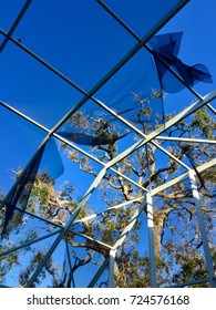 ORMOND BEACH, FLORIDA/ USA – SEPTEMBER 30, 2017: Weeks after Hurricane Irma passed through, screen enclosures are damaged and oak trees are nearly bare of leaves in Florida.
