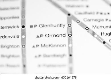 Ormond Station. Melbourne Metro map.