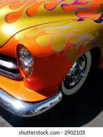 Ornage flamed hotrod car