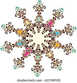 Ornament with artistic contours and modern western colorization