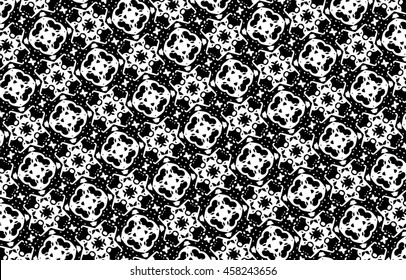 Ornament with elements of black and white colors. r