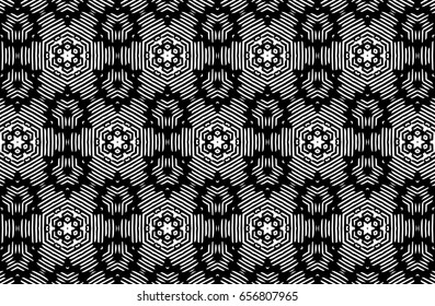 Ornament with elements of black and white colors. Q