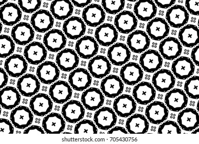 Ornament with elements of black and white colors. I