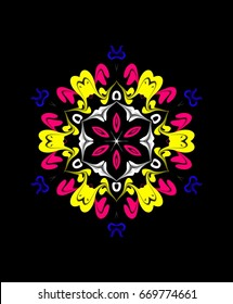 Ornament on a black background. Technically modified, abstract pattern./Six directed symmetric pattern in the color combination of white, yellow, blue, and hot pink.