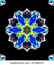 Ornament on a black background. Technically modified, abstract pattern./Fancy multicolored symmetrical pattern with six directed the Central figure, and white contours.