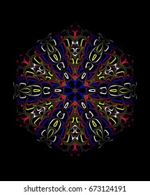 Ornament on a black background. Technically modified, abstract pattern./Directed six fancy colored mesh pattern of thin lines on a black background.