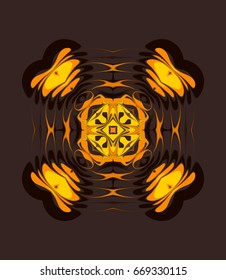 Ornament on brown background. Technically modified, abstract pattern./Fancy pattern in color combinations of yellow, orange and dark brown.