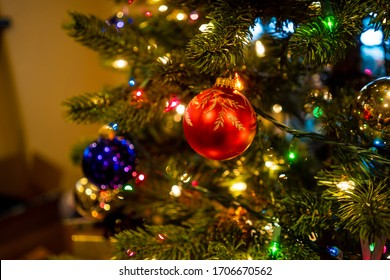 An ornament on a Christmas tree
