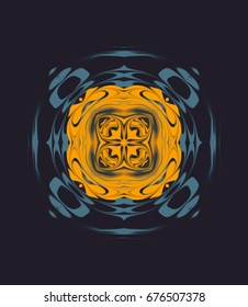 Ornament on dark background. Technically modified, abstract pattern./The four aims of fancy pattern in the color combination of orange and dark waves of the sea.