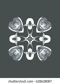 Ornament on a gray background. Technically, an altered pattern of abstract object, from flowers and rings./White-grey four directed fantasy pattern on a grey background.