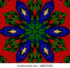 Ornament on red background.  Technically modified, abstract pattern./Pattern with a Central six-directional figure in the color combinations blue, green, red, yellow and black.