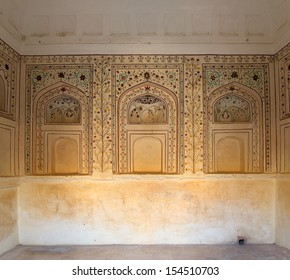 ornament on wall of palace in Jaipur fort India
