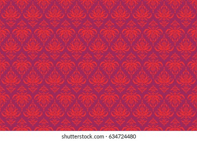 Ornament in purple and red colors. Raster seamless background. Colored patterns antique.
