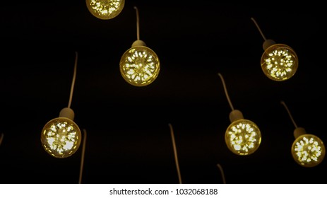 Ornament round lamp hanging on ceiling