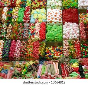 Ornamental arrangement of sweets  - Mercat de la boqueria (La Rambla), Barcelona