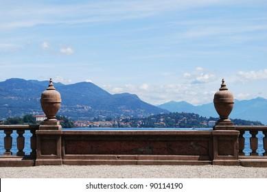 Ornamental balustrade on Borromean Island Isola Bella, Lake Maggiore, Stresa, Piedmont, Italy