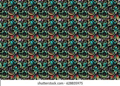 Ornamental border on black background. Raster seamless damask pattern, classic wallpaper, background.