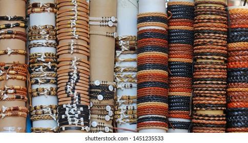 Ornamental bracelets fashion accessories sold on tourist markets