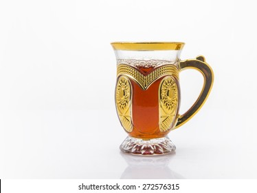 An ornamental cup of sulemani tea - an arabic black tea.