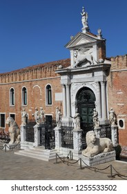 Ornamental gate to the Arsenal building in Venice, Italy