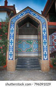 Ornamental gate in old house with traditional ornaments in tatar east style, Crimea