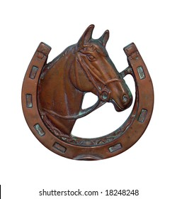 Ornamental Horse Shoe with Horse head isolated with clipping path