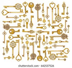 Ornamental medieval vintage keys isolated on white background.