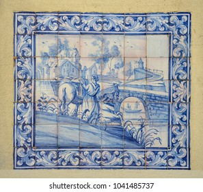 "Ornamental old typical tiles from Portugal called ""azulejos"" made with colored ceramic tiles, who decorates the houses in Lisbon, Portugal"