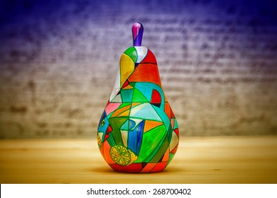 Ornamental pear-matryoshka wooden, hand-painted. Contemporary art, handmade