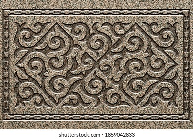 Ornamental print on the stone surface. Vintage ornament on the stone. Close-up seamless texture. Stone texture. Pattern on the stone. Embossed pattern. Wallpaper. - Shutterstock ID 1859042833