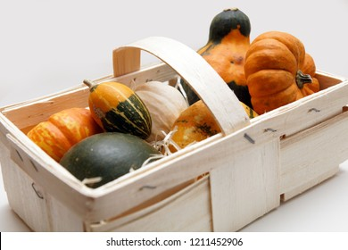 ornamental pumpkin  in a basket on white