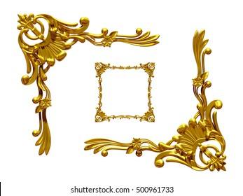 ornamental, rectangular segment, corner piece, for golden frame, 3D Illustration