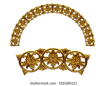"""ornamental segment, """"balls"""", round version for fourty five degree angle corners or frames. 3D illustration, separated on white"""