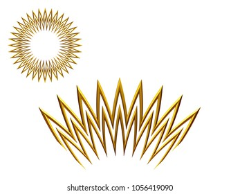 """ornamental segment, """"bright"""", round version for ninety degree angle corners or frames. 3D illustration, separated on white"""