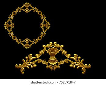 """ornamental segment, """"bunch"""", round version for ninety degree angle corners or frames. 3D illustration, separated on black"""