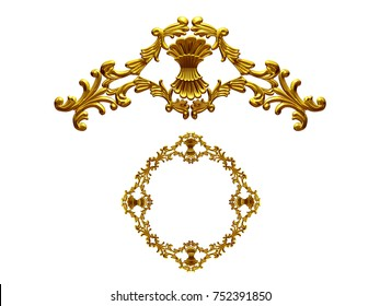 """ornamental segment, """"bunch"""", round version for ninety degree angle corners or frames. 3D illustration, separated on white"""