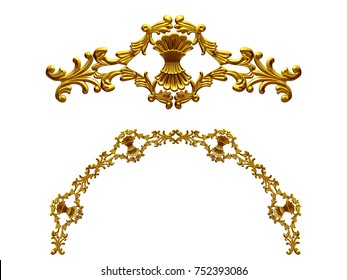 """ornamental segment, """"bunch"""", round version for fourty five degree angle corners or frames. 3D illustration, separated on white"""