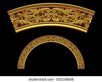 """ornamental segment, """"double"""", round version for fourty five degree angle corners or frames. 3D illustration, separated on black"""