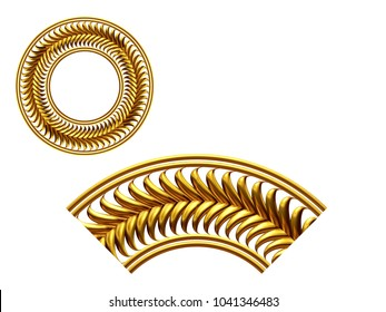 """ornamental segment, """"frond"""", round version for ninety degree angle corners or frames. 3D illustration, separated on white"""