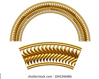 """ornamental segment, """"frond"""", round version for fourty five degree angle corners or frames. 3D illustration, separated on white"""