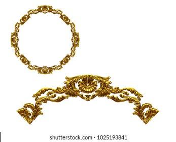 "ornamental segment, ""hiatus"", round version for ninety degree angle corners or frames. 3D illustration, separated on white"