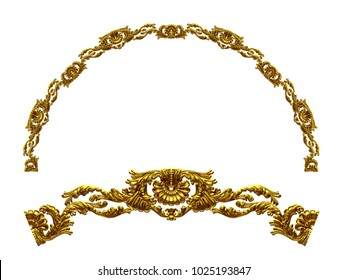 """ornamental segment, """"hiatus"""", round version for fourty five degree angle corners or frames. 3D illustration, separated on white"""