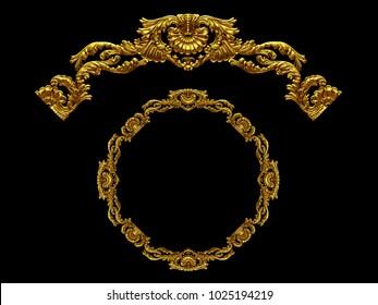 "ornamental segment, ""hiatus"", round version for ninety degree angle corners or frames. 3D illustration, separated on black"