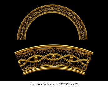 """ornamental segment, """"Introvert"""", round version for fourty five degree angle corners or frames. 3D illustration, separated on black"""
